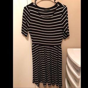 Stretch black stripped dress
